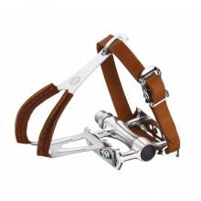 Pedales retro plataforma con calapies y correas de cuero