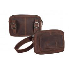 Bolsa única Haberland Cuero marrón oscuro